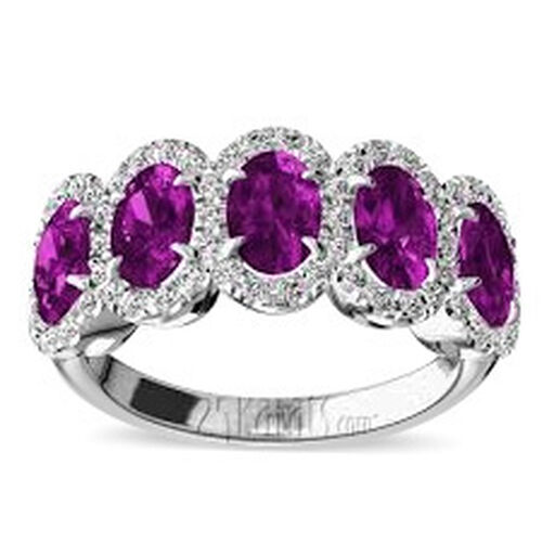AAA Pink Sapphire (Ovl),Natural Combodian White Zircon Ring in Rhodium Plated Sterling Silver 2.150 Ct.
