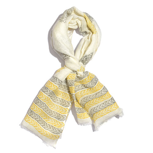 Yellow and Grey Colour Handblock Printed White Colour Scarf (Size 180x70 Cm)