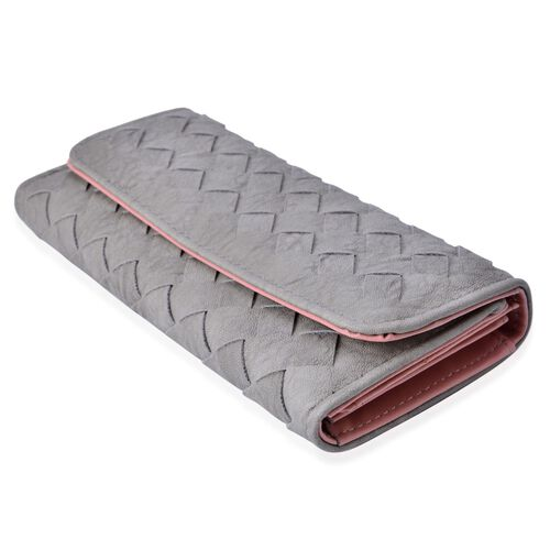 Celina Classic Light Grey Intrecciato Textured Wallet And Cardholder Set (Size 19x10x2.5 Cm and 10.5x8x2.5 Cm)