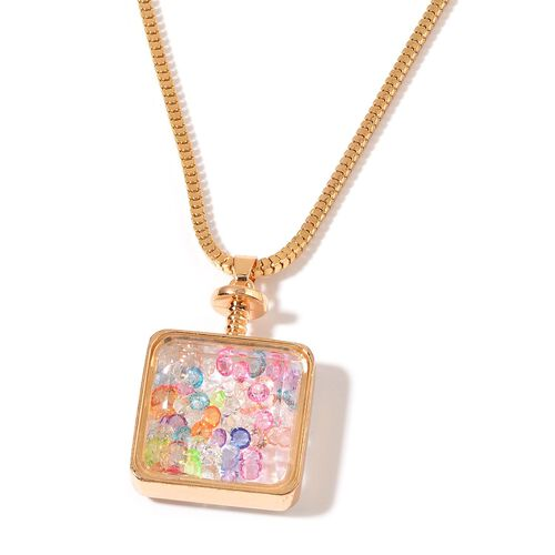 Simulated White Diamond and Multi Colour Crystal Pendant With Chain in Gold Tone