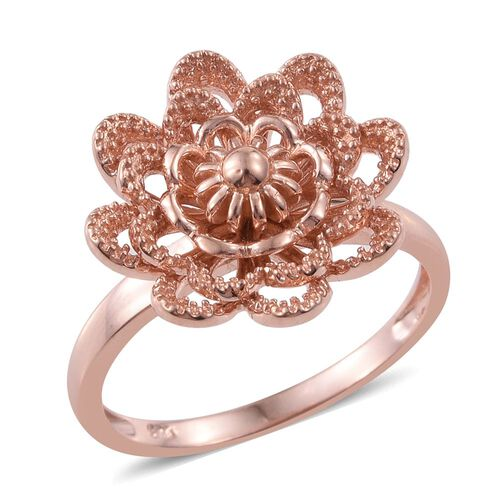 Silver Flower Ring in Rose Overlay, Silver wt. 4.33 Gms