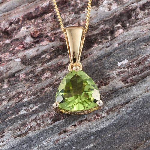 Hebei Peridot (Trl) Solitaire Pendant With Chain in 14K Gold Overlay Sterling Silver 1.900 Ct.