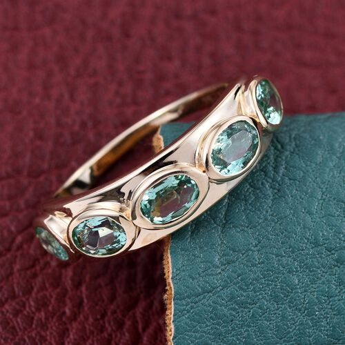 9K Y Gold Boyaca Colombian Emerald (Ovl) 5 Stone Ring 2.150 Ct.