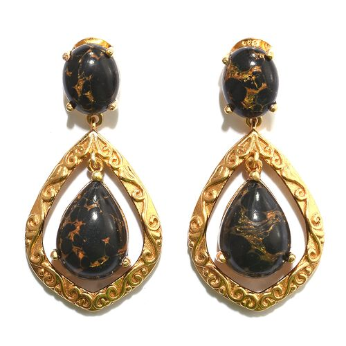 Arizona Mojave Black Turquoise (Pear) Earrings (with Push Back) in 14K Gold Overlay Sterling Silver 16.000 Ct.
