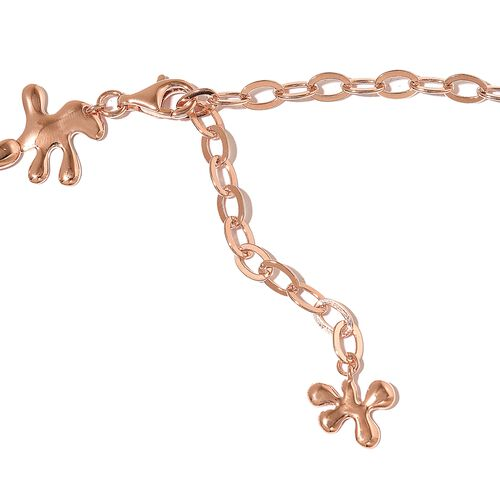 LucyQ SPLASH Necklace (Size 16 with 4 inch Extender) in Rose Gold Overlay Sterling Silver 79.41 Gms.