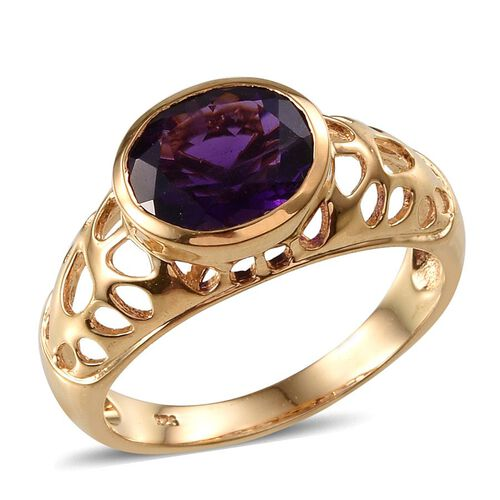 Checkerboard Cut Amethyst (Ovl) Solitaire Ring in 14K Gold Overlay Sterling Silver 3.250 Ct.