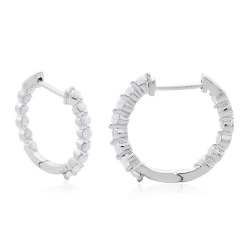 9K White Gold 0.50 Carat Diamond Inside Out Hoop Earrings (with Clasp) SGL Certified I3 G-H.