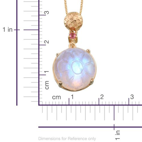 Stefy Rainbow Moonstone (Rnd 16.65 Ct), Mahenge Pink Spinel and Pink Sapphire Pendant With Chain in 14K Gold Overlay Sterling Silver 16.750 Ct.