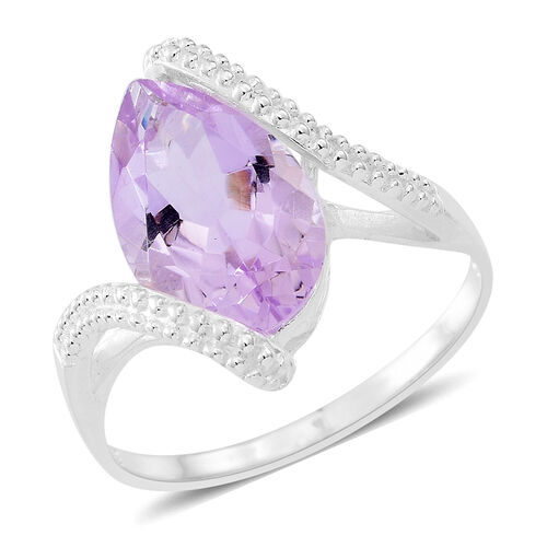 Rose De France Amethyst Solitaire Ring in Sterling Silver 3.500 Ct.