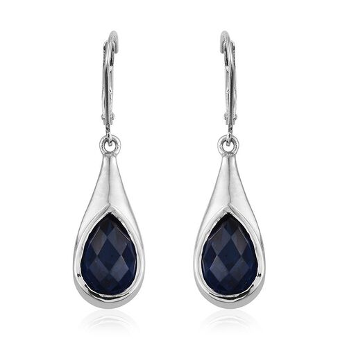 Ceylon Colour Quartz (Pear) Lever Back Earrings in Platinum Overlay Sterling Silver 6.750 Ct.
