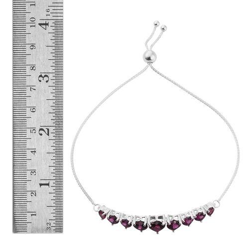 Rhodolite Garnet (Hrt) Pendant, Adjustable Bracelet (Size 6.5 to 9) and Lever Back Earrings in Sterling Silver 10.250 Ct.