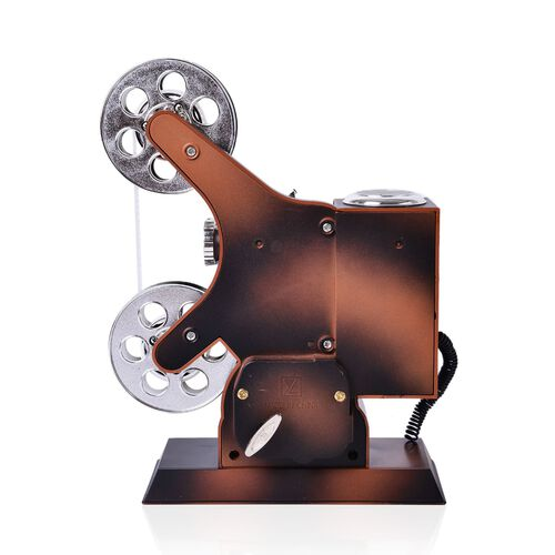 Home Decor - Silver and Chocolate Colour Movie Projector Design Music Box (Size 25X15.5X14.5 Cm)