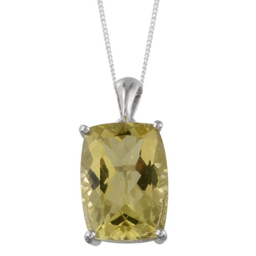 Brazilian Green Gold Quartz (Cush) Solitaire Pendant With Chain in Platinum Overlay Sterling Silver 12.250 Ct.