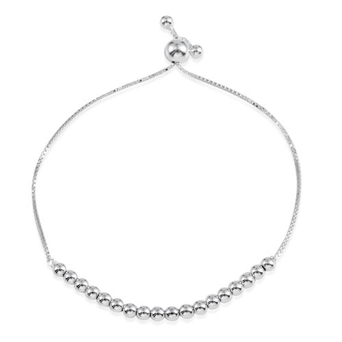 (Option 2) JCK Vegas Collection Rhodium Plated Sterling Silver Adjustable Bracelet (Size 9), Silver Wt 3.60 Gms.