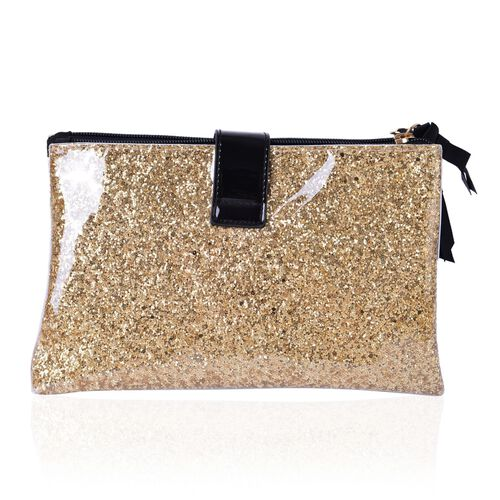 Golden Colour PVC Cosmetic Bag (Size 22x13x8 Cm)