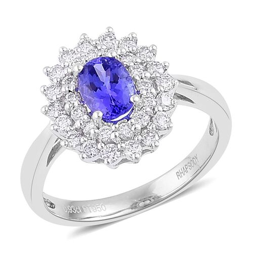 RHAPSODY 950 Platinum 1.50 Ct AAAA Tanzanite Halo Ring with two row Diamond VS/E-F