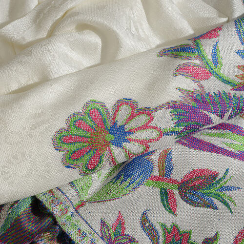 Cream, Green and Multi Colour Floral and Leaves Pattern Scarf with Tassels (Size 200X70 Cm)