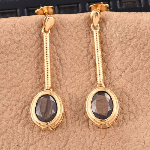 Natural Zawadi Golden Sheen Sapphire (Ovl) Earrings (with Push Back) in 14K Gold Overlay Sterling Silver 5.000 Ct.