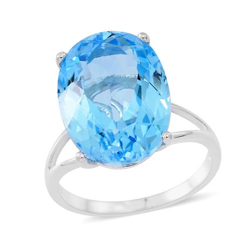 One Time Deal AAA Rare Size Sky Blue Topaz (OVAL 18X13) Rhodium Plated Sterling Silver Ring 15.000 Ct.
