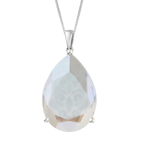 J Francis Crystal from Swarovski - Moonlight Crystal (Pear 30x20 MM) Pendant with Chain (Size 30) in Platinum Overlay Sterling Silver, Silver wt 9.50 Gms.