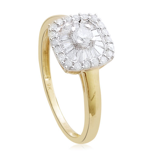 9K Yellow Gold 0.50 Carat Diamond Cluster Ring SGL Certified I3/G-H.