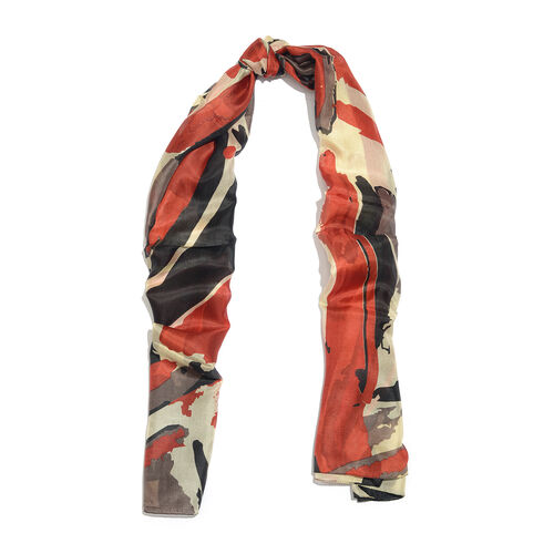 100% Mulberry Silk Red, Black and Multi Colour Handscreen Abstract Printed Scarf (Size 180X100 Cm)