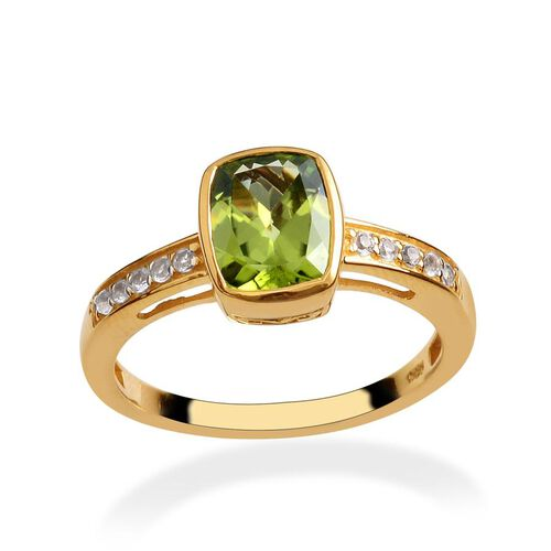 Hebei Peridot (Cush 2.25 Ct), White Topaz Ring in 14K Gold Overlay Sterling Silver 2.500 Ct.