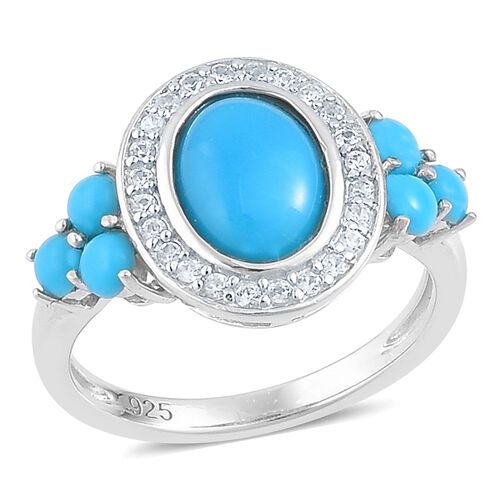 Arizona Sleeping Beauty Turquoise (Ovl 1.33 Ct), White Zircon Ring in Platinum Overlay Sterling Silver 2.130 Ct.