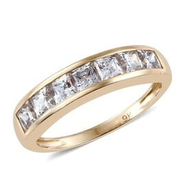 J Francis - 9K Y Gold (Princess) 7 Stone Band Ring Made with SWAROVSKI ZIRCONIA