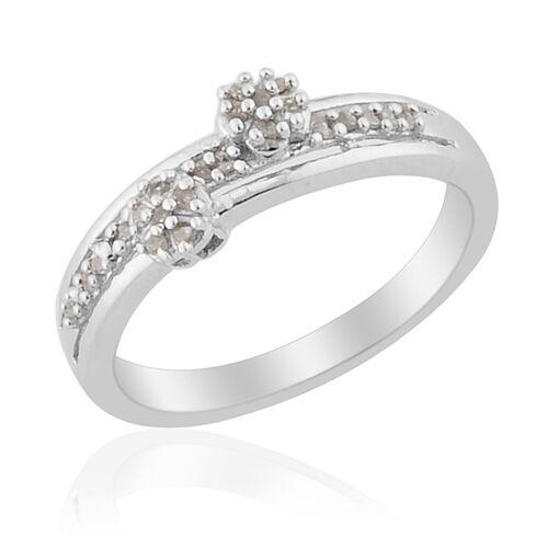 Diamond Platinum Overlay Sterling Silver Ring  0.090 Ct.