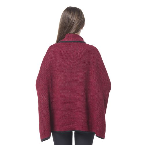 Wine Red and Black Colour Cape with Metallic Lock at Neck (Size 80X73 Cm)