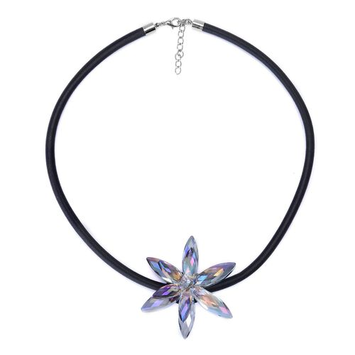 (Option 2) Multi Colour Glass Floral Necklace (Size 18 with 2 inch Extender) in Silver Tone 25.000 Ct.