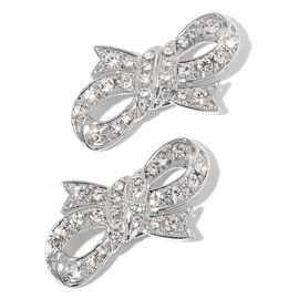 One Time Deal-Pair of Bowknot Design Clip Accessory with Simulated White Pearl and Austrian Crystal Silver Plated