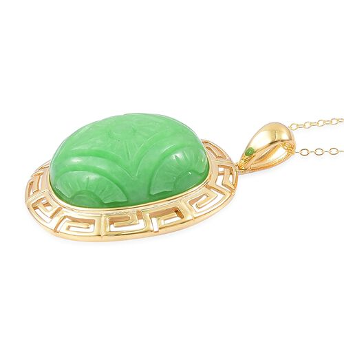 Limited Edition-Sun Rays Carved Green Jade Greek Symbol Pendant with Chain in Yellow Gold Overlay Sterling Silver 47.500 Ct.