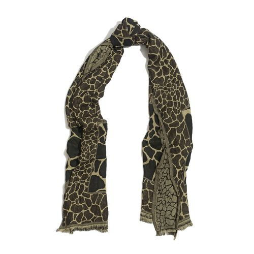 Snake Pattern Chocolate and Multi Colour Scarf (Size 170x65 Cm)