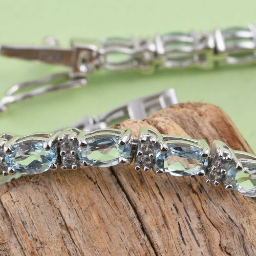 Aquamarine and Zircon 5.83 Ct Silver Tennis Bracelet in Platinum Overlay (Size 7.5)