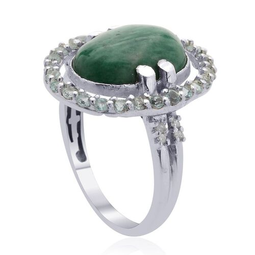 Russian Amazonite (Ovl 4.50 Ct), Paraibe Apatite and Diamond Ring in Platinum Overlay Sterling Silver 5.300 Ct.