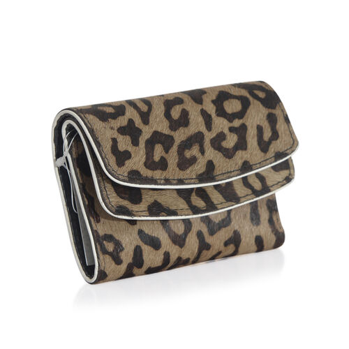Genuine Leather Leopard Pattern Chocolate Colour Wallet (Size 12x9 Cm)