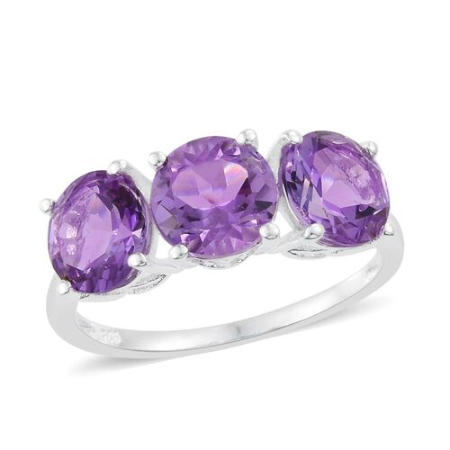 Rose De France Amethyst (Rnd) Trilogy Ring in Sterling Silver 3.500 Ct.