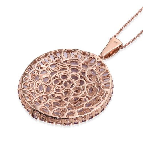 Rose De France Amethyst (Ovl) Cluster Pendant With Chain (Size 30) in Rose Gold Overlay Sterling Silver 15.500 Ct.