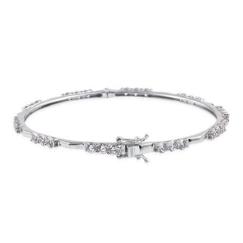 J Francis - Platinum Overlay Sterling Silver (Rnd) Bangle (Size 7.75) Made with SWAROVSKI ZIRCONIA