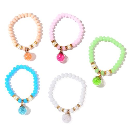 Set of 5 - Simulated Multi Colour Diamond and White Austrian Crystal Stretchable Charm Bracelet (Size 7) in Yellow Gold Tone