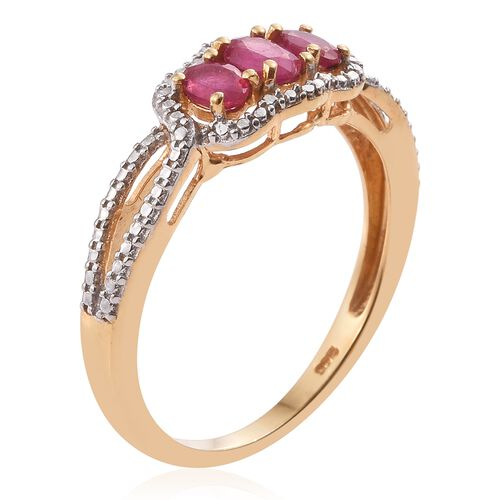 African Ruby (Ovl) 3 Stone Ring in 14K Gold Overlay Sterling Silver 1.000 Ct.