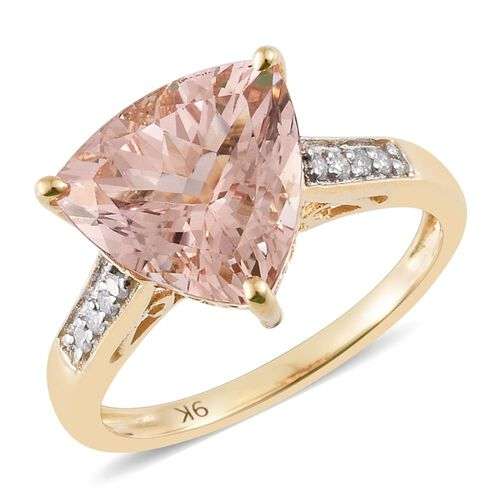 9K Yellow Gold 4.1 Ct Trillion AA Marropino Morganite Ring with Diamond (I4/ H-I)