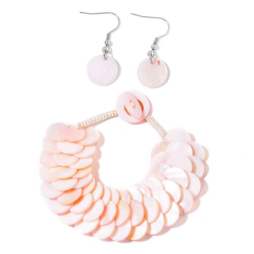 Pink Shell Coin Bracelet (Size 7.5) and Hook Earrings in Silver Tone