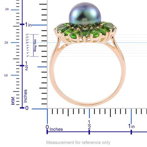 9K Y Gold Tahitian Pearl (Rnd 7.50 Ct), Russian Diopside Ring 10.000 Ct.