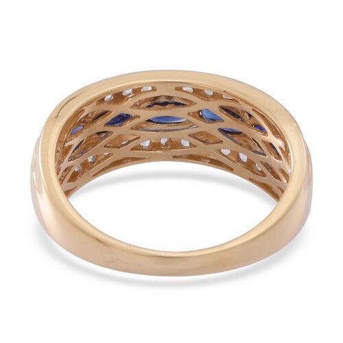 ILIANA 18K Y Gold Rare AAAA Ceylon Sapphire (Ovl), White Sapphire Ring 2.000 Ct.