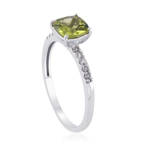 Hebei Peridot (Cush 1.25 Ct), White Topaz Ring in Platinum Overlay Sterling Silver 1.500 Ct.