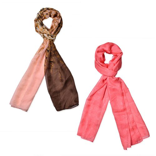 Set of 2 - Designer Inspired Hearts Pattern Pink and Chocolate Colour Scarf (Size 175x70 Cm)