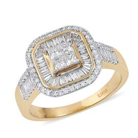 ILIANA 18K Yellow Gold 1.02 Ct Diamond (Princess Cut) Ring IGI Certified (SI/G-H)
